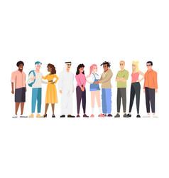 Multinational students group flat multiracial vector