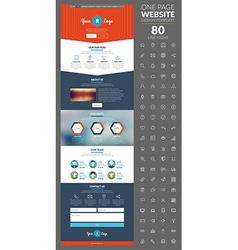 One page website template with icon set vector