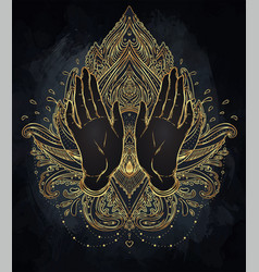 ornamental lotus flower and praying hands vector image