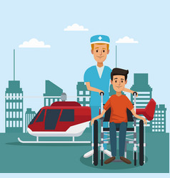 patient on wheelchair outside hospital vector image