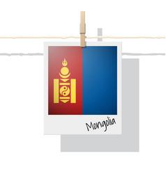 Photo of mongolia flag on white background vector