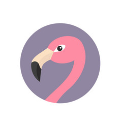 Pink flamingo head face with long neck round vector