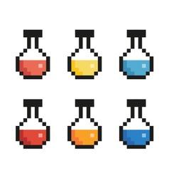 Pixel bottle set vector