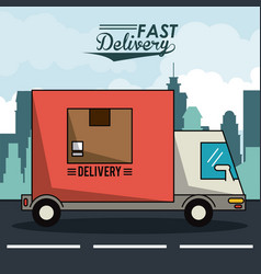 Poster city landscape with fast delivery truck of vector