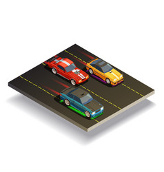 Race track cars composition vector