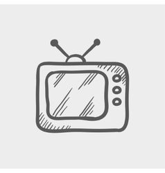 Retro television sketch icon vector image