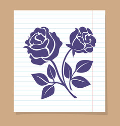 Rose sketch on line paper page vector