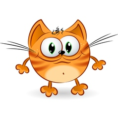 Sad cartoon cat vector image