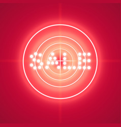 sale glowing neon sign with target on the red vector image
