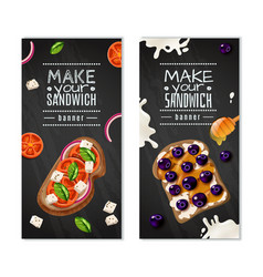 Sandwiches vertical banners vector
