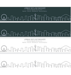 seattle single line skyline banner vector image