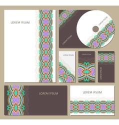 Set floral decorative background cd design vector