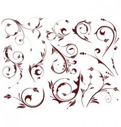 Set floral element vector