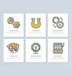 set of gambling and casino colored elements vector image