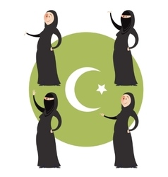 Set of muslim women vector image