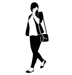 silhouette of a walking woman with phone vector image