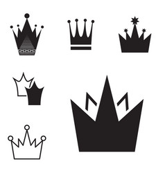 Simple black crown icon set isolated vector