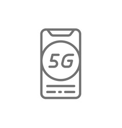 smartphone with 5g internet line icon vector image