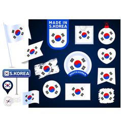 south korea flag collection big set national vector image