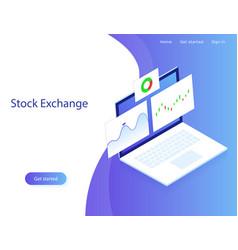 stock exchange market analysisfinance vector image