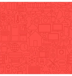 Thin Home Technology Seamless Red Pattern vector image