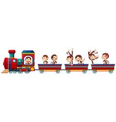 Train and monkeys vector image