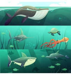 Underwater Life Retro Cartoon Banners Set vector image
