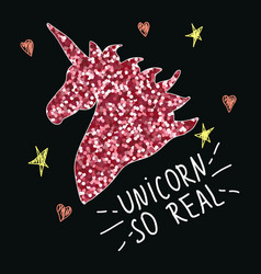 Unicorn with slogan fashion glitter print vector
