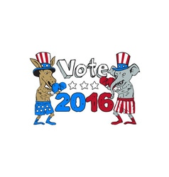 Vote 2016 Donkey Boxer and Elephant Mascot Cartoon vector