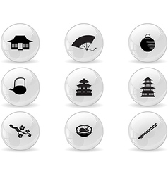Web buttons japan icons vector