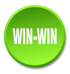 Win-win green round flat isolated push button vector