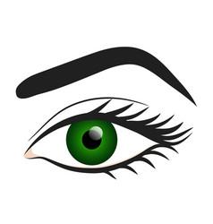 Woman green eye hand draw stock vector