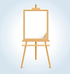 Wooden easel with blank paper sheet vector image