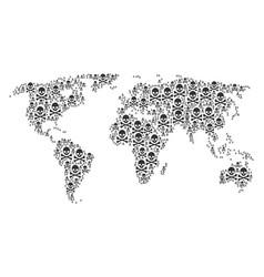 World map pattern of death skull items vector