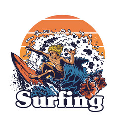 young man crazy extreme surfer vector image
