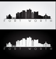 fort worth usa skyline and landmarks silhouette vector image