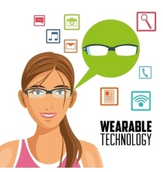Girl cartoon and wearable technology design vector image