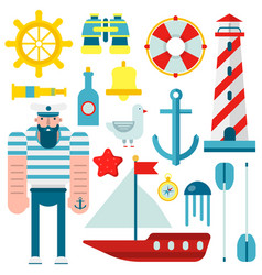 marine nautical sailor symbols and flat vector image