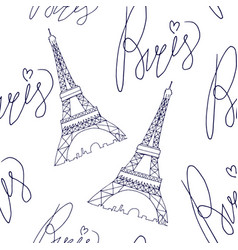 paris eiffel tower pattern with lettering vector image vector image