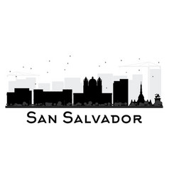 san salvador city skyline black and white vector image vector image