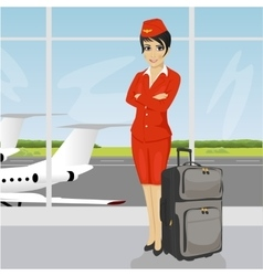 asian air hostess posing with luggage vector image