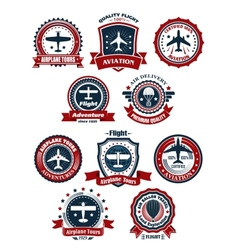 Aviation and air travel banners or emblems vector image