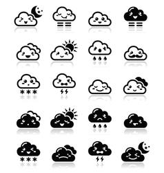 Cute cloud - Kawaii Manga black icons with differ vector image vector image