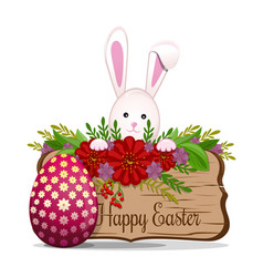 cute easter bunny wishes happy easter easter vector image vector image