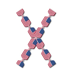 Letter X made of USA flags in form of candies vector image vector image