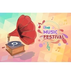 Music background with gramophone and notes vector image
