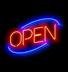 open neon sign with reflection vector image vector image