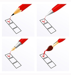 Red ticks vector image