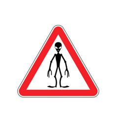 Ufo warning sign red alien hazard attention vector