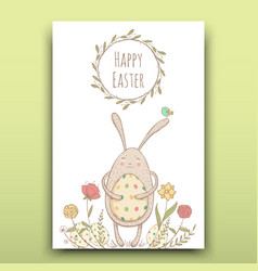 beautiful easter card with painted easter bunny on vector image vector image